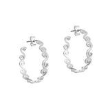 Silver swirly creole earrings