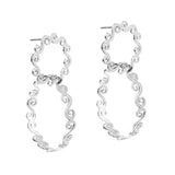 Silver swirly double hoop stud earrings