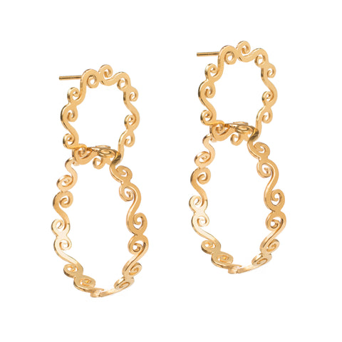 Double hoop gold statement earrings
