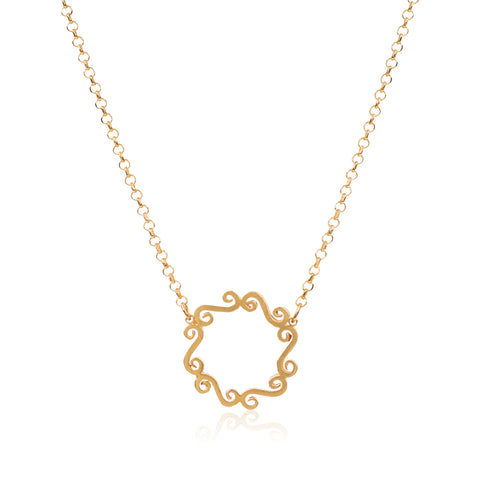 Gold swirly circle necklace infinity pendant