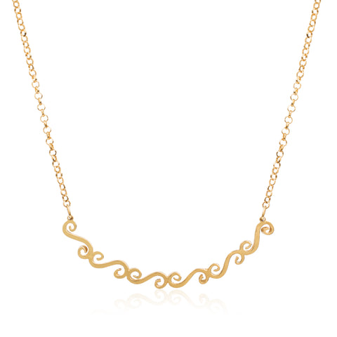 Swirl bar necklace in gold
