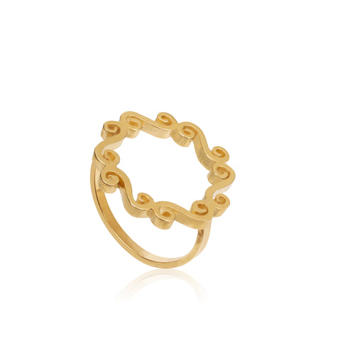 Gold swirly circle open ring delicate infinity jewellery