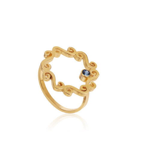 Swirly circle ring with blue sapphire detail