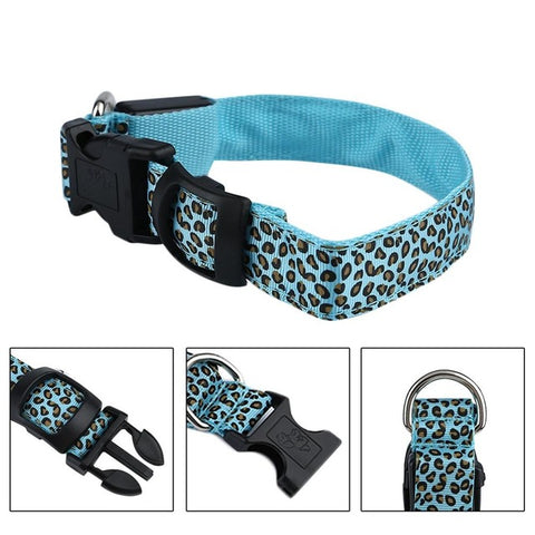 Nylon Pet Dog Collar Luminous Ring Dog Collar LED Flash Light Pet Supplies Blue Colorful With 3 Light for Small Dogs Safety