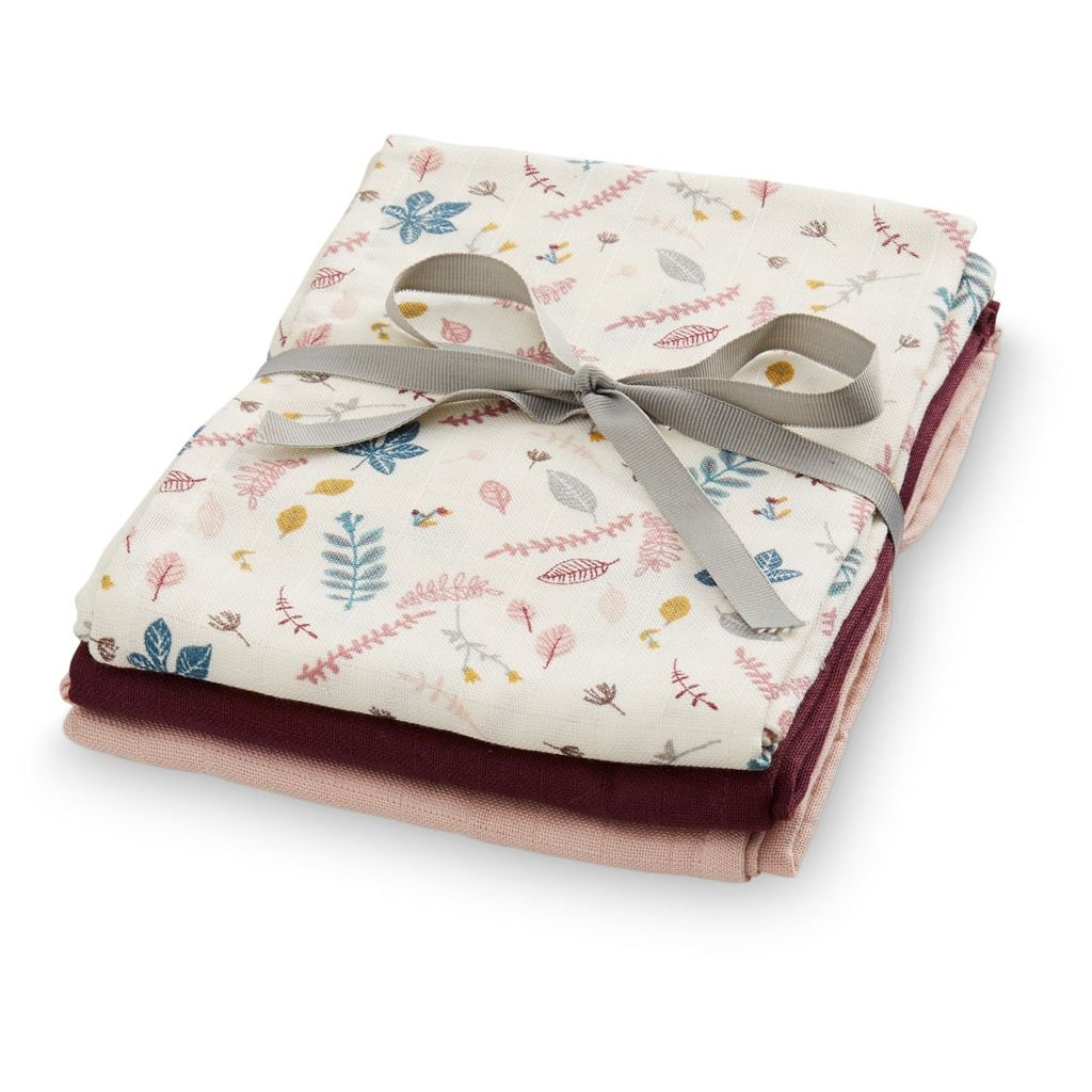 Cam Cam muslin cloths 3 pack - Pressed leaves rose mix