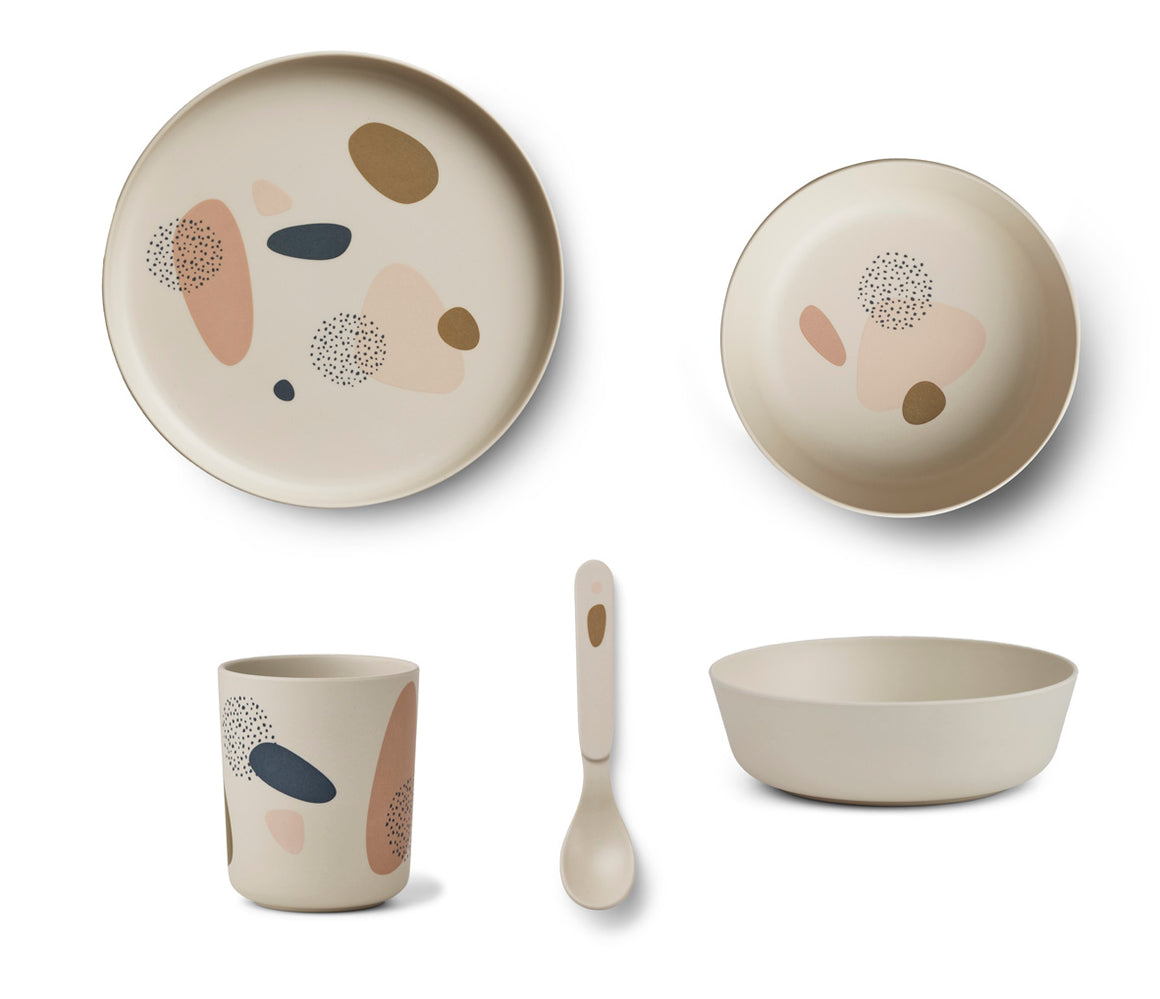 Liewood Bamboo Tableware Set - Bubbly Sandy