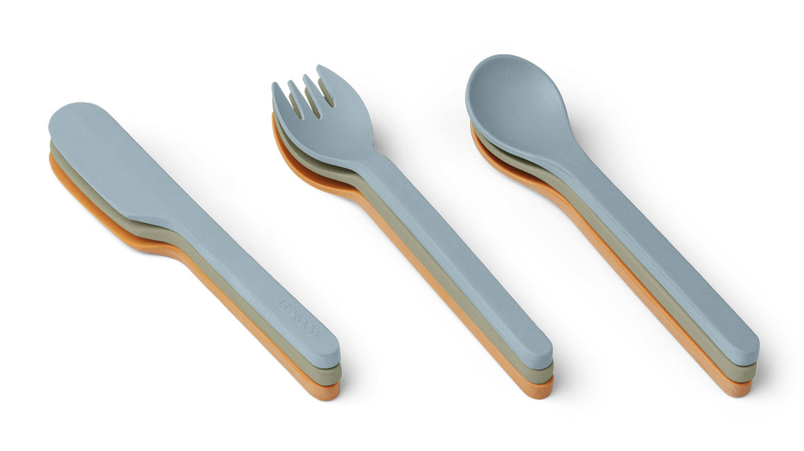 Liewood Frederikke Cutlery Set - 3 Sets - Blue Multi Mix