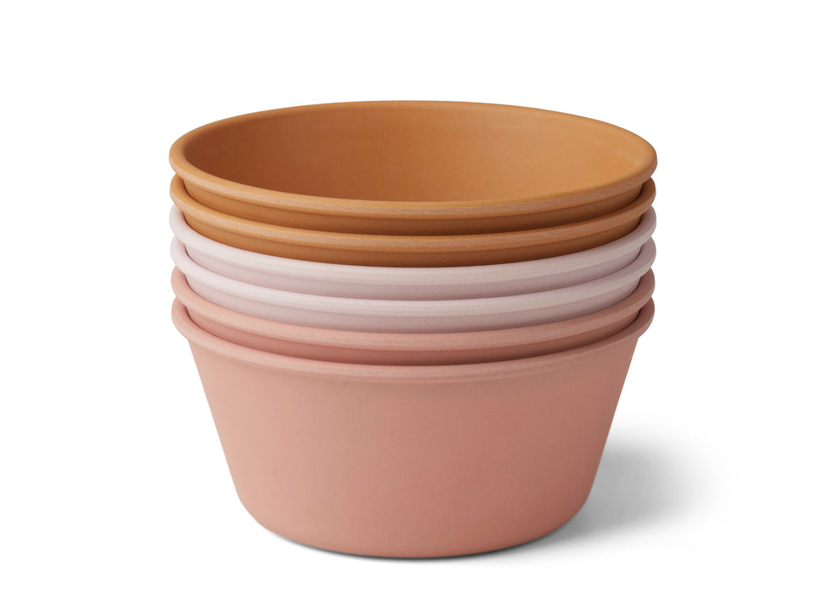 Liewood Greta Bamboo Bowls 6 Pack - Rose Multi Mix