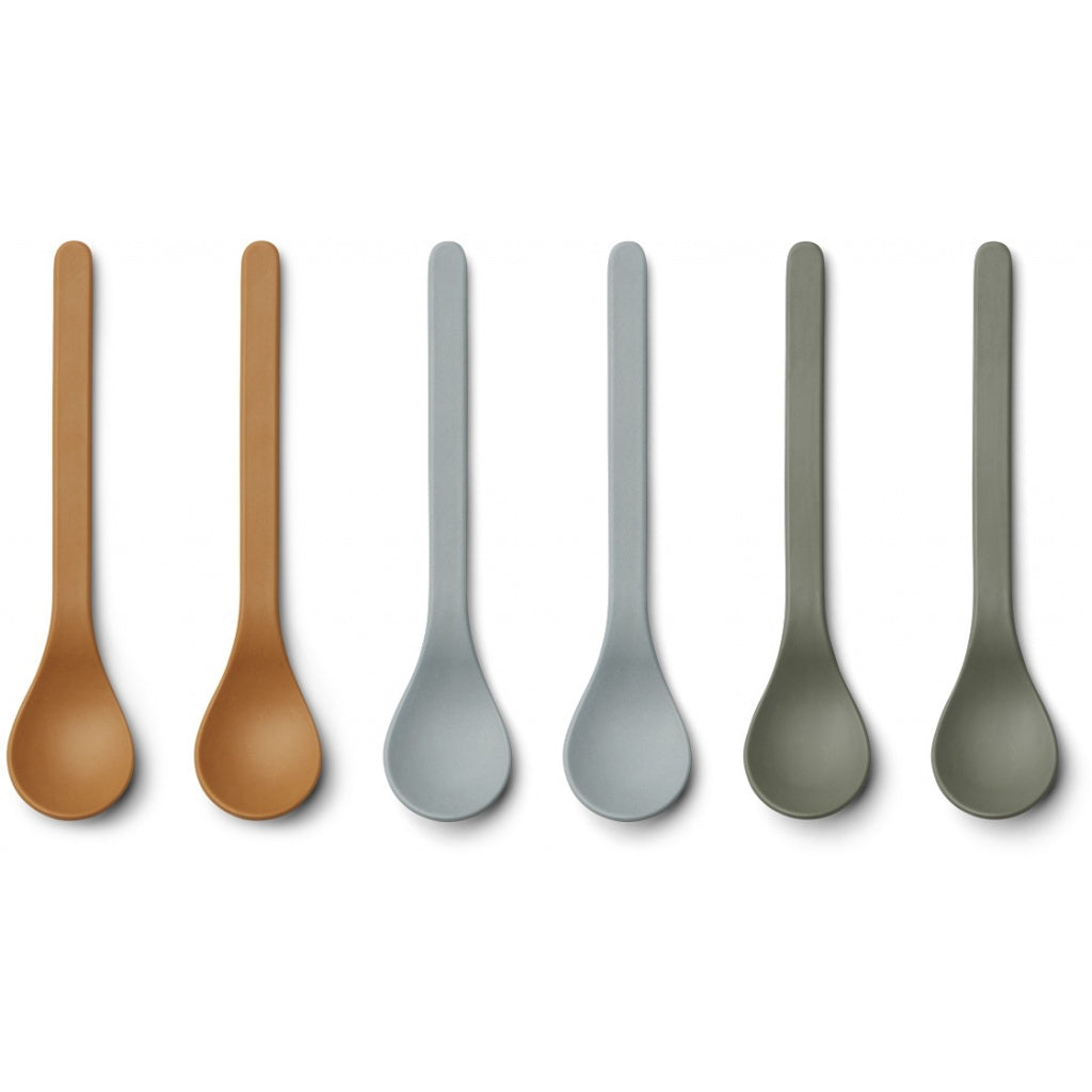 Liewood Etsu Bamboo Spoon - 6 pack - Blue Multi Mix