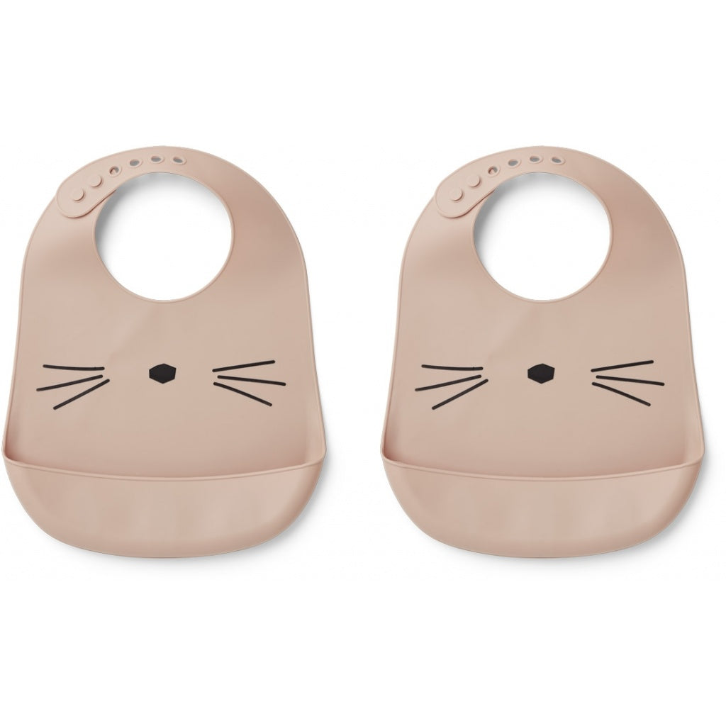 Liewood Tilda Silicone Bib - 2 pack - Cat Rose