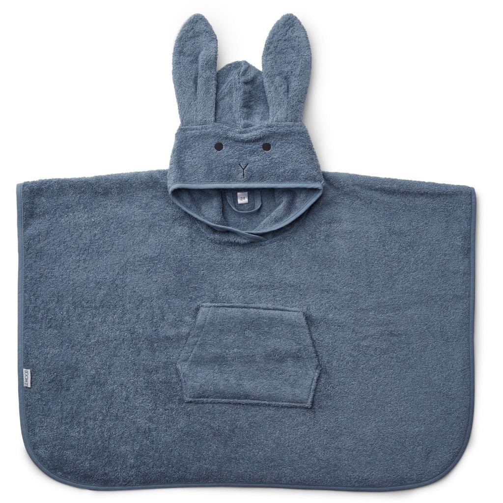 Liewood Rabbit Poncho Towel - Blue Wave