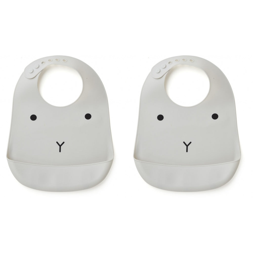 Liewood Tilda Silicone Bib - 2 pack - Rabbit Grey