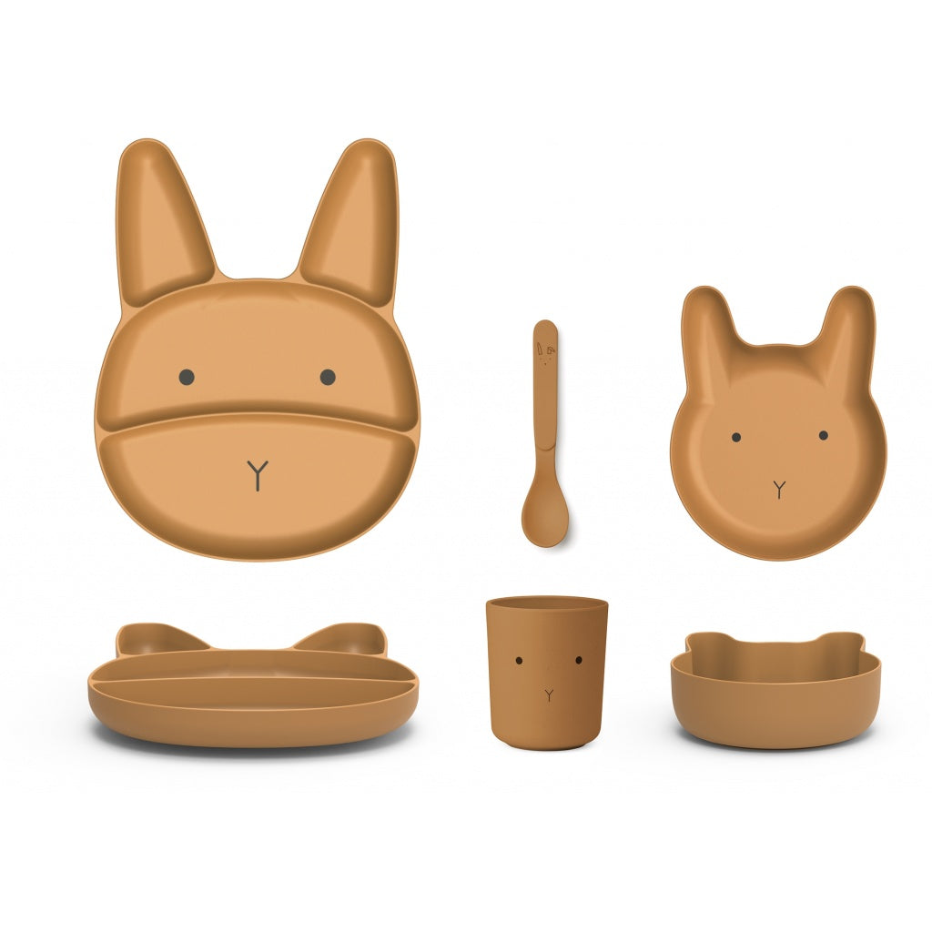 Liewood Jules Junior Bamboo Tableware - Rabbit Mustard