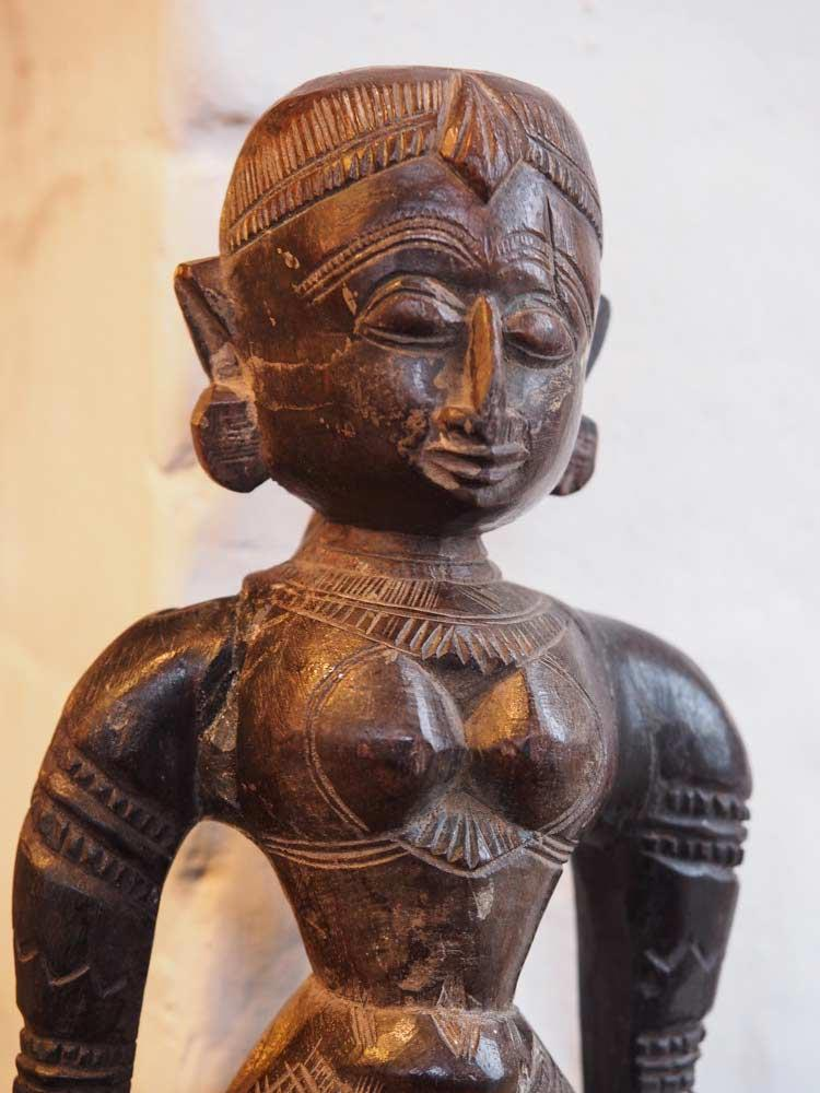 Carved Wooden Statue of a Young Indian Woman