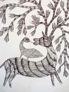 Gond Drawing of a Magical Deer and a Bird