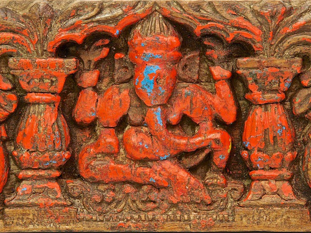 Old Red Painted Ganesh