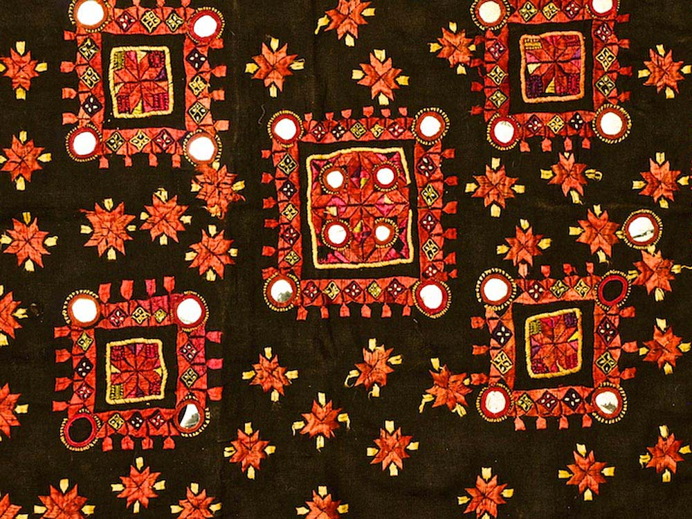 Red Embroidered Textile from Gujarat