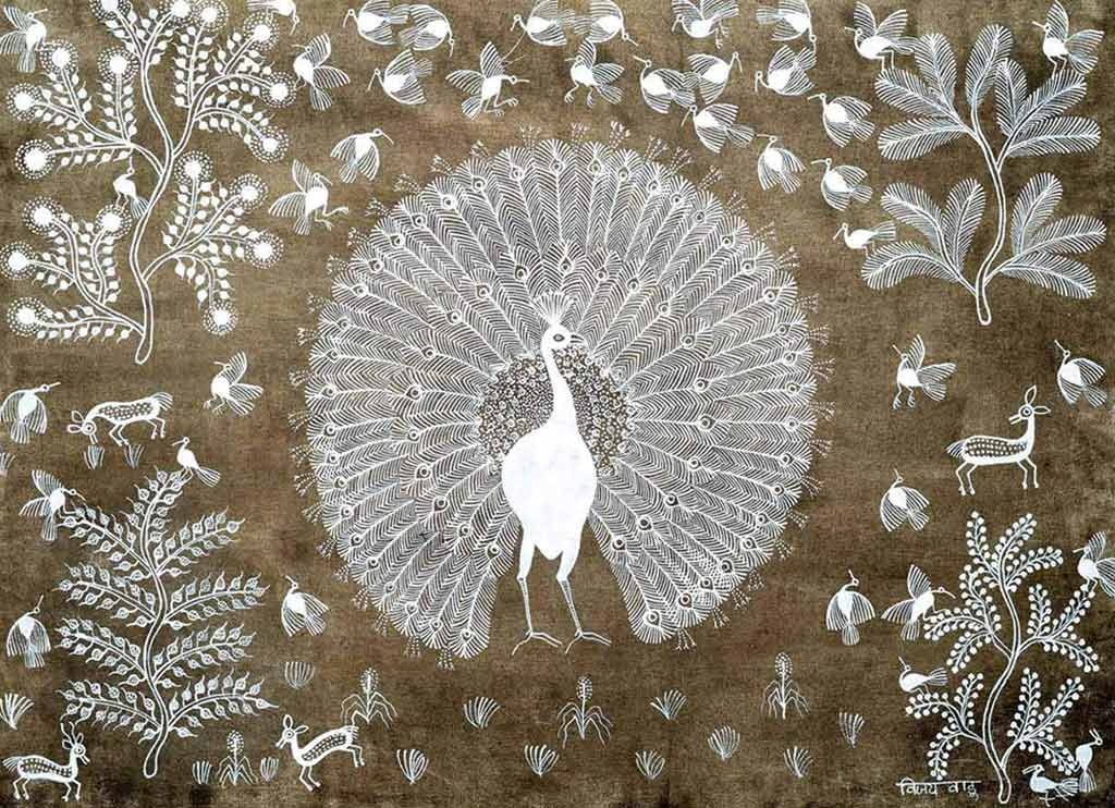 Warli painting of a peacock displaying his tail feathers