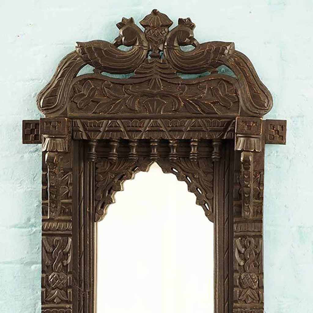 Carved Wooden Peacock Mirror
