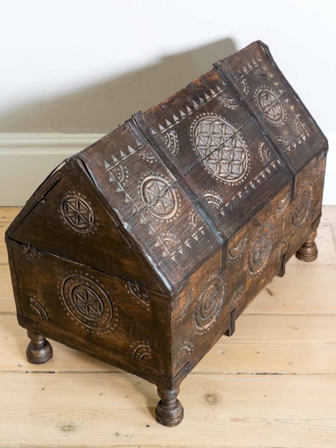 Carved Vintage Indian Dowry Chest