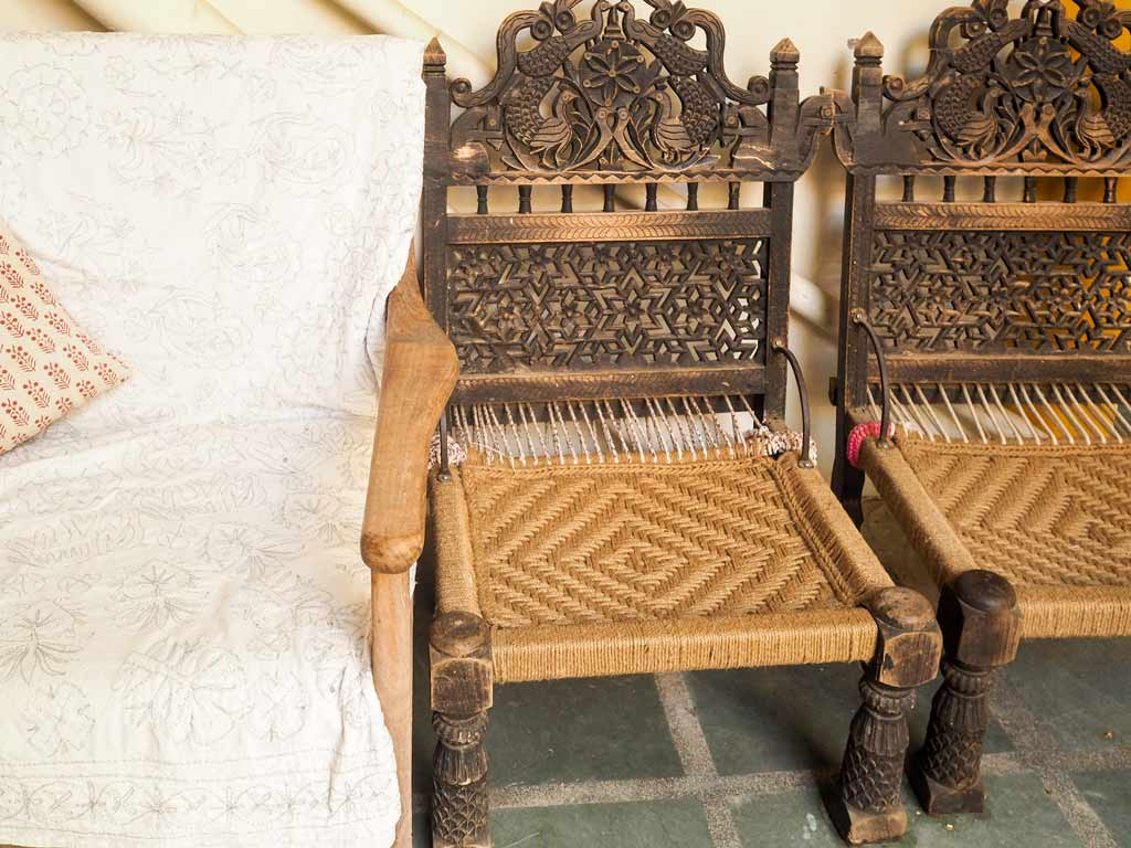 Carved peacock chairs, Nawalgarh