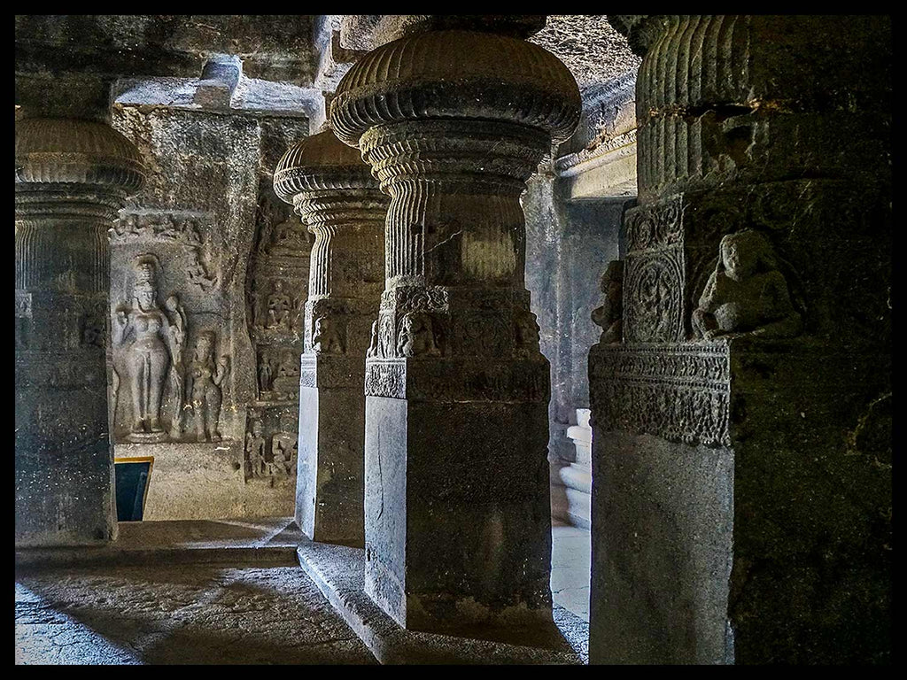 Cave 10 Pillars & Female Figure, Cave 10, Ellora