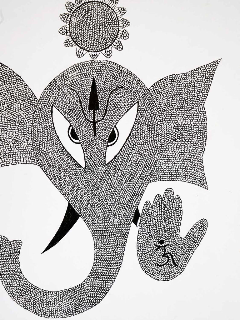Gond Drawing of Ganesh
