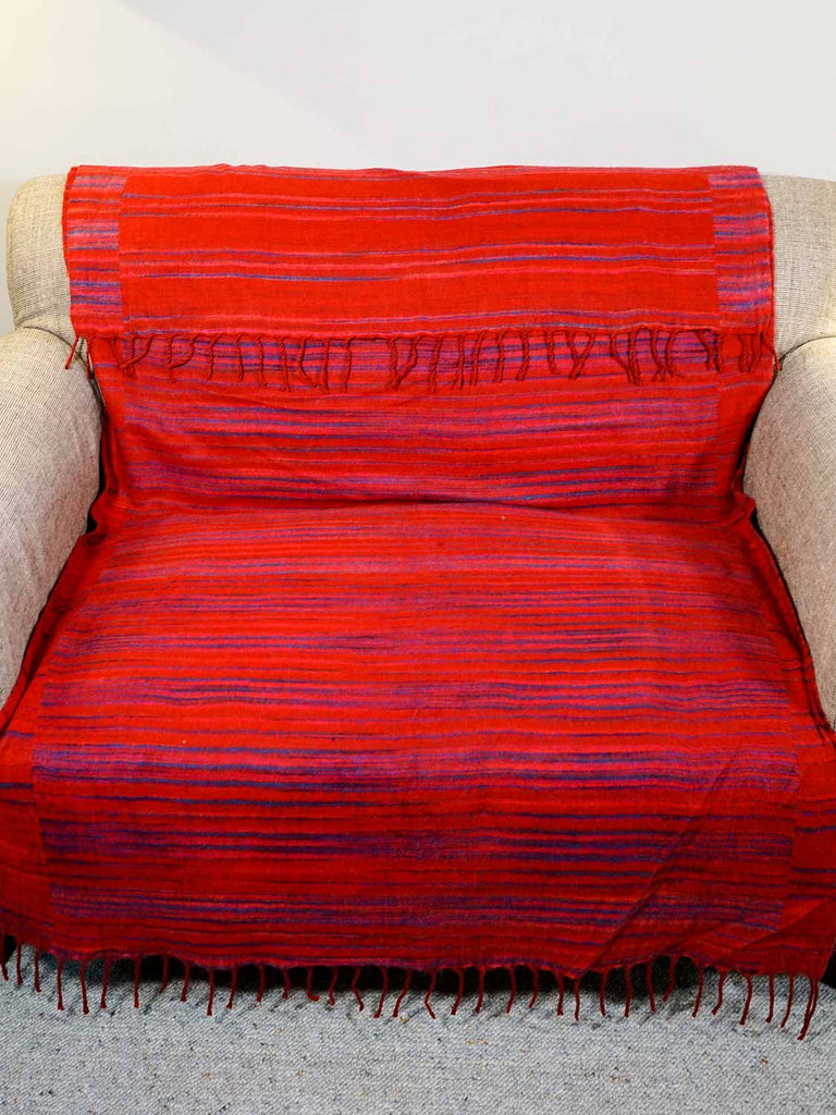 Red Tibetan Blanket - Reverse Side