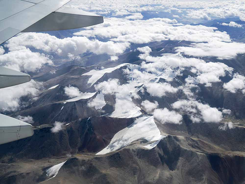 Over the Himalaya flying from Delhi to Leh