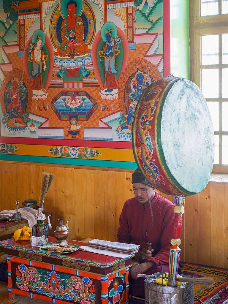 Monk reciting prayers at Gya monastery, Ladakh