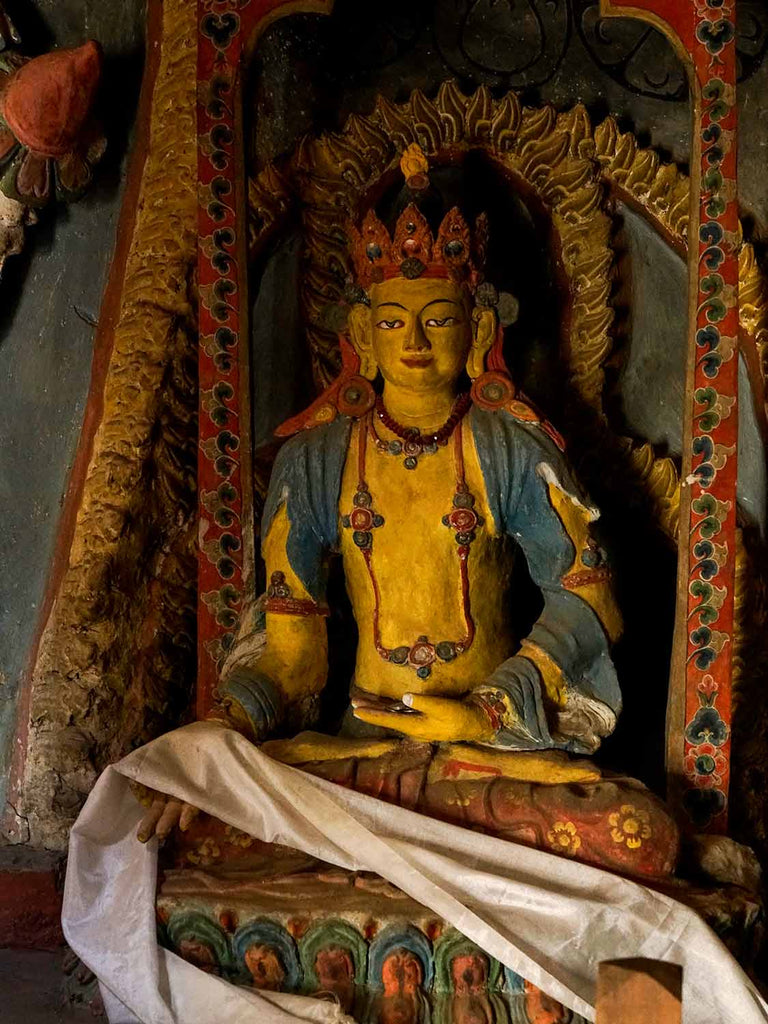 Ratnasambhava Buddha in the old chapel at Lamayuru, Ladakh