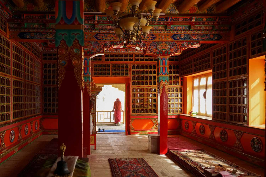 Prayer hall at Attetse Monastery, Ladakh