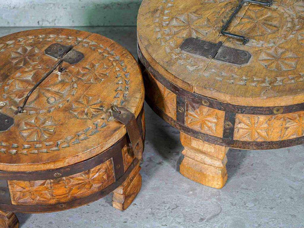 Carved Wooden Chapatti Boxes