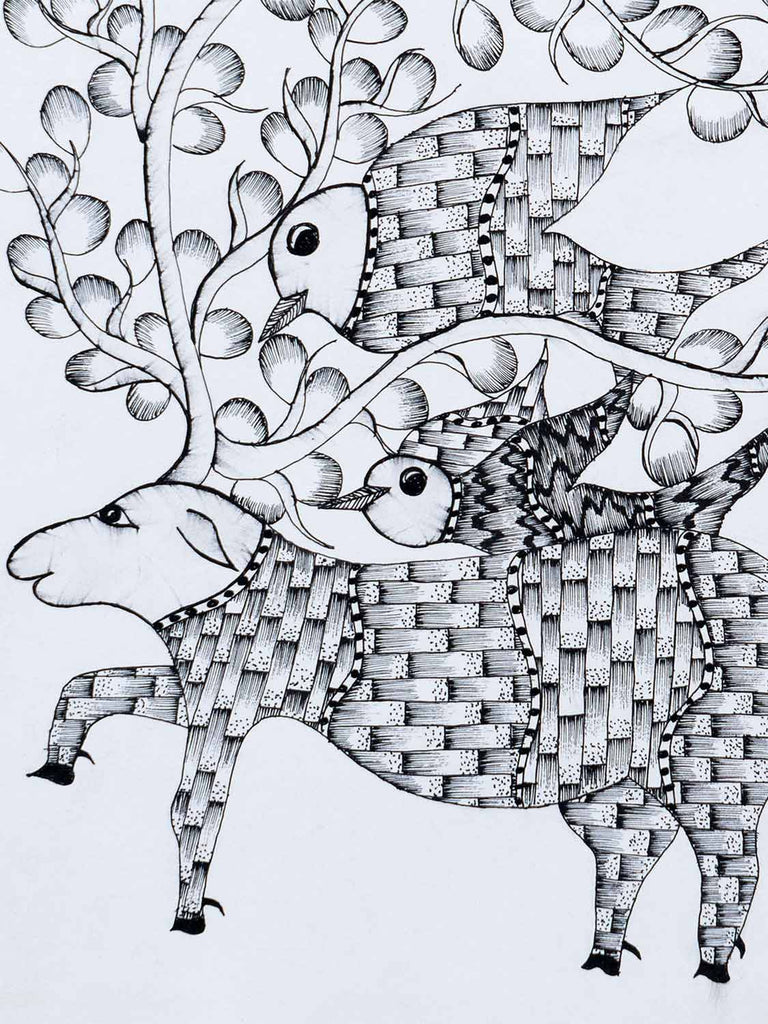 Gond Drawing of a Deer and Birds