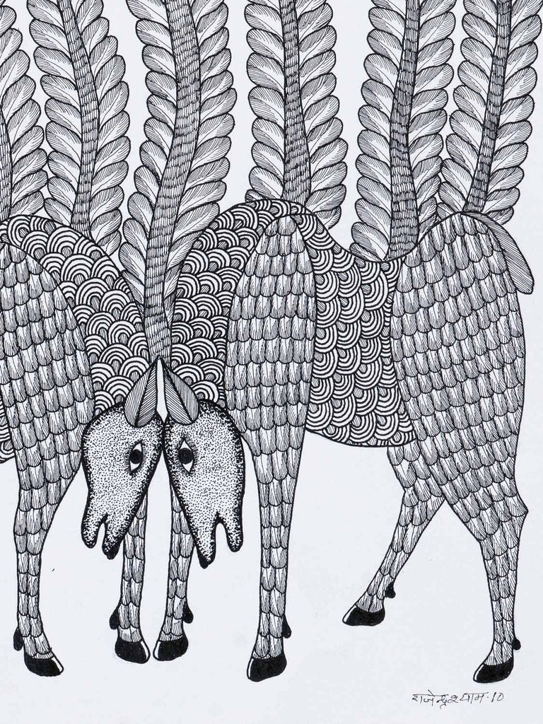Gond Drawing of Two Animals Head to Head