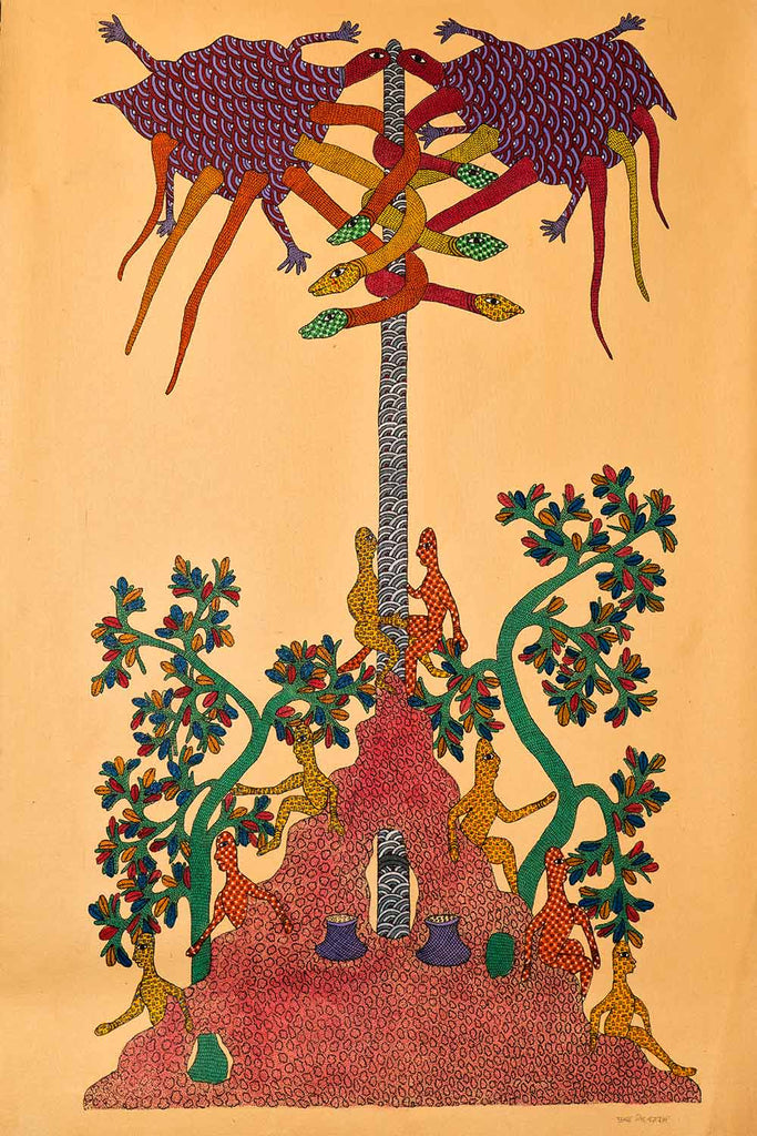 Gond Painting of a Mystical Tree