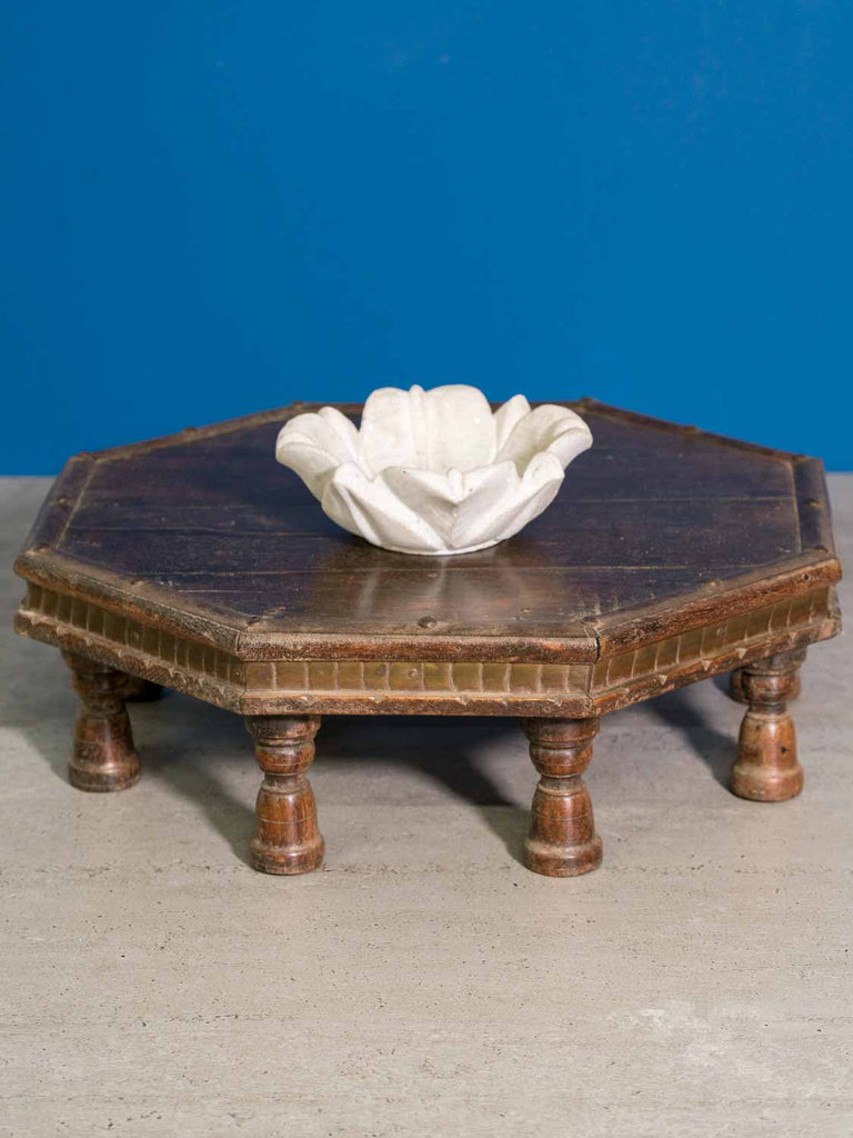 Low Octagonal Indian Wooden Table