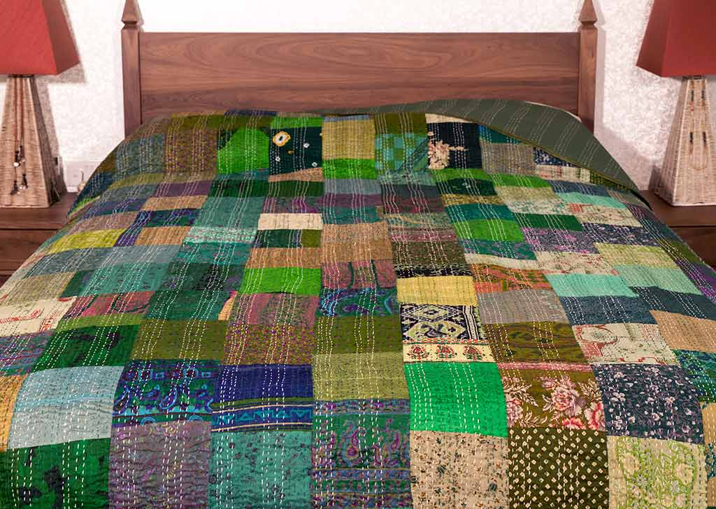 Green Silk Patchwork Bedspread