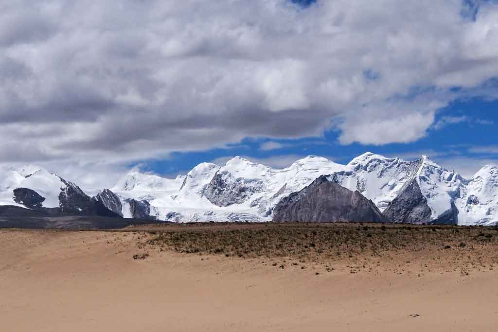 Mountains of Nepal seen from Western Tibet