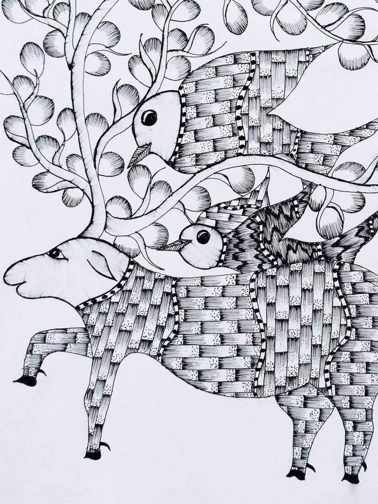 Gond Deer with Birds