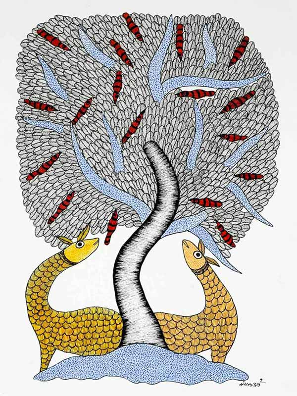 Gond Painting of Two Deer and a Tree
