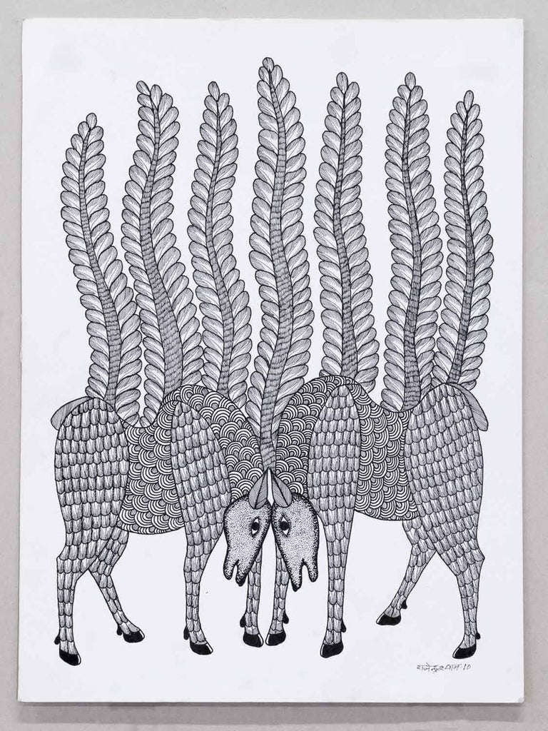 Gond Drawing of Cows and Fronds