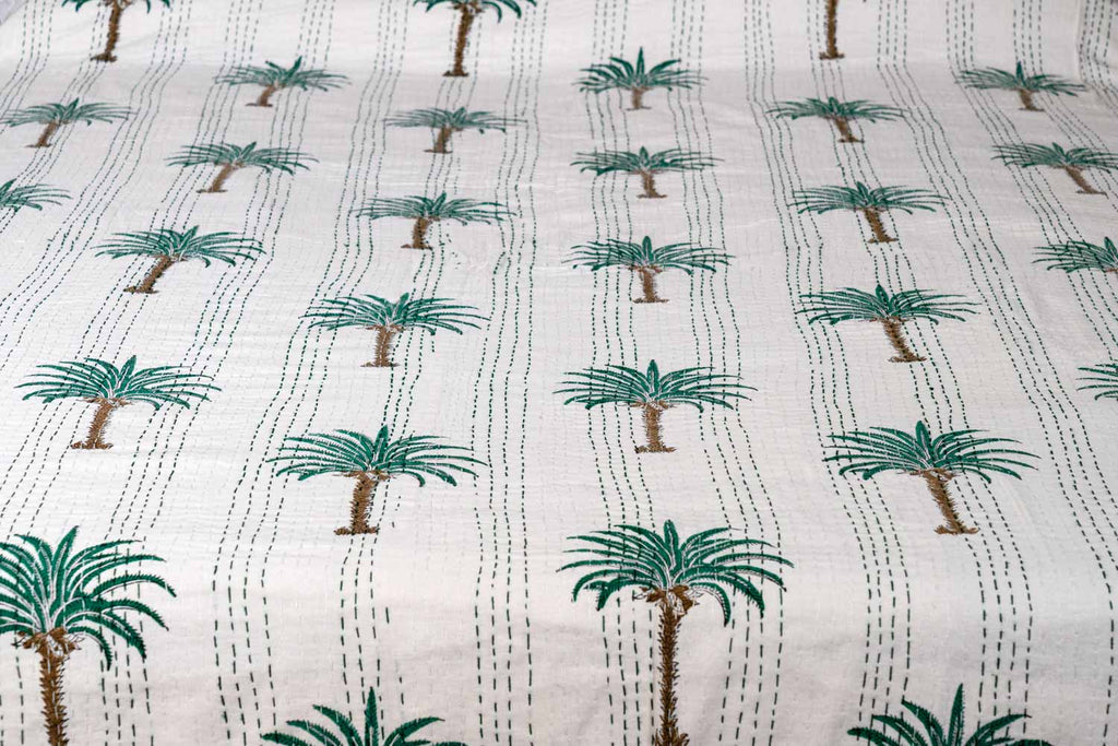Green Palm Trees Indian Double Bedspread