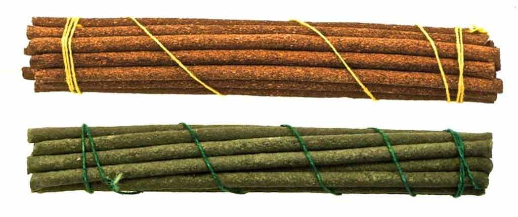 Green and Brown Tibetan incense sticks