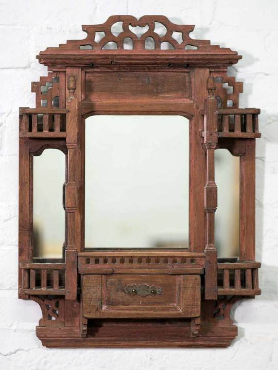 Indian Wooden Mirror with Five Jarokha Balconies
