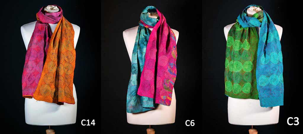Kantha scarves with circular embroidery