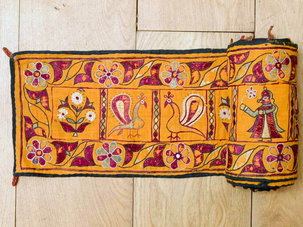 Vintage Yellow Embroidered Frieze from Gujarat