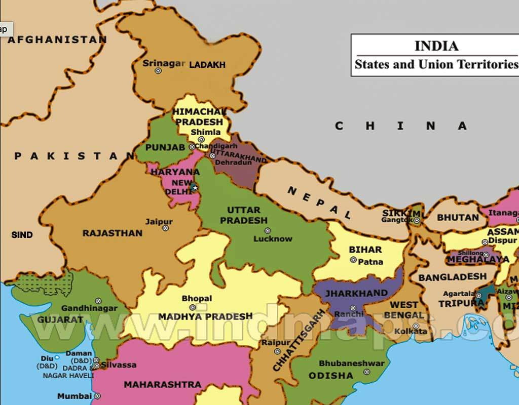 Map of Northern India