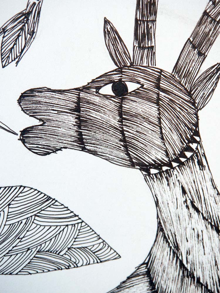 Gond Drawing of a Bird and Magical Deer
