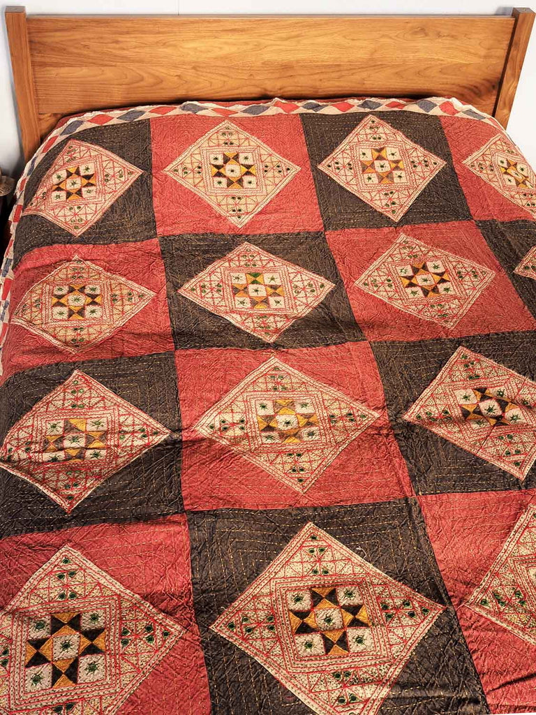 Red Earth Embroidered Bedspread